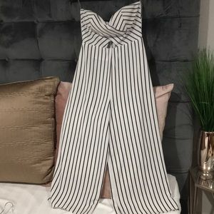 BLACK/WHITE striped strapless jumpsuit